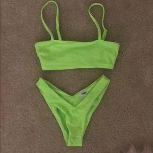 neon green 2 piece bikini